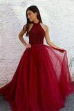 Burgundy Prom Dresses,Halter Prom Gown,Beaded Prom Dress,Tulle Prom Dress
