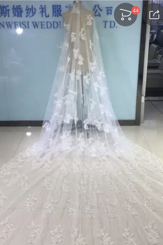Ivory Lace Appliqued Tulle Wedding Veil, Bridal Veil WV22