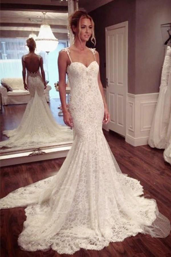 Sexy Wedding Dresses,Mermaid Wedding Dress,Long Wedding Gown,Backless Wedding   Dresses,Lace Wedding Gown