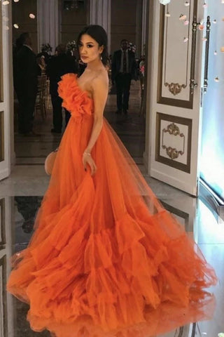 Orange Ruffles Tulle Evening Party Dresses Strapless Tiered Long Prom Dresses OKW75