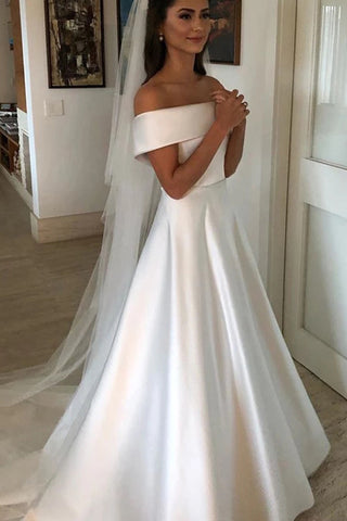 Simple A Line Ivory Wedding Dresses Satin Off The Shoulder Bridal Gowns OKX3
