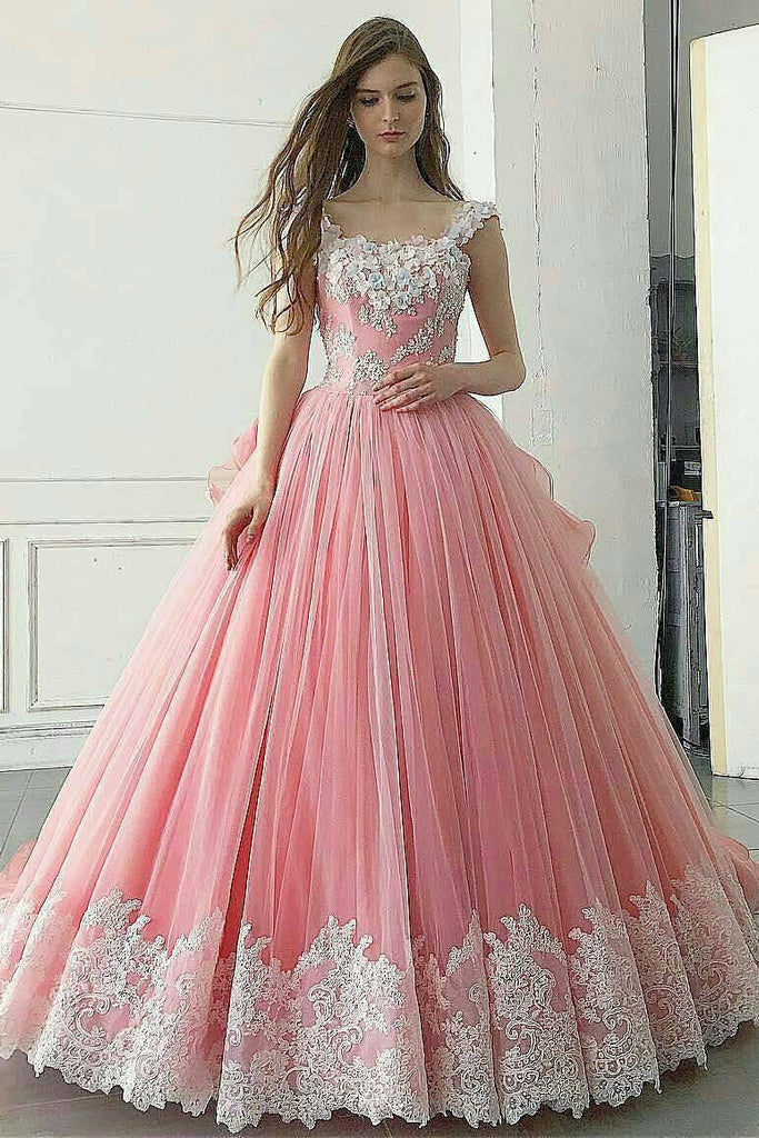 Pink Ball Gown Appliqued A Line Long Prom