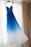 Spaghetti Strap Bridesmaid Dress,Royal Blue Ombre Bridesmaid Dresses,Long Bridesmaid Dresses,Chiffon Bridesmaid Dress,Royal Blue Ombre Prom Dress,A-line Sweetheart Prom Dress