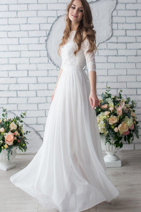 White Long Half Sleeve Chiffon Wedding Dress,Lace Beach Floor-Length Bridal Dress OK618