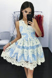 Beautiful A-Line V-Neck Short Blue Homecoming Dress with Lace Appliques OKB35