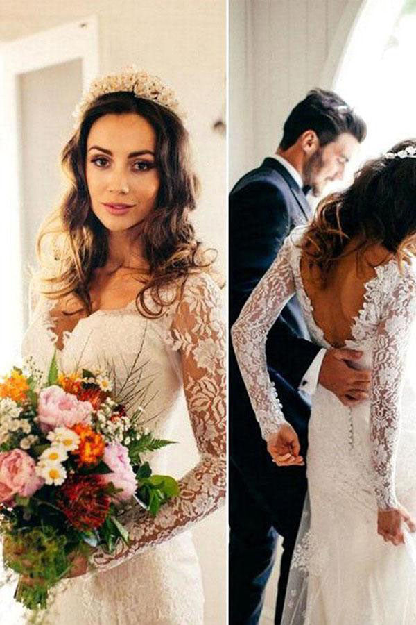 Sexy Mermaid Long Sleeves V Neck White Lace Backless Wedding Dress OK567