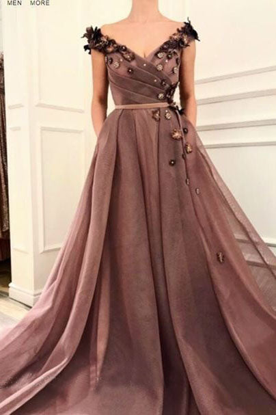 A Line V Neck Cap SleevesBrown Long Flowers Prom Dresses With Pockets OKR10