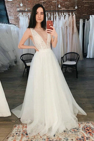 Tulle Beach Wedding Dresses Deep V-Neck Lace A-Line Bridal Dress Boho Wedding Gown OKW22