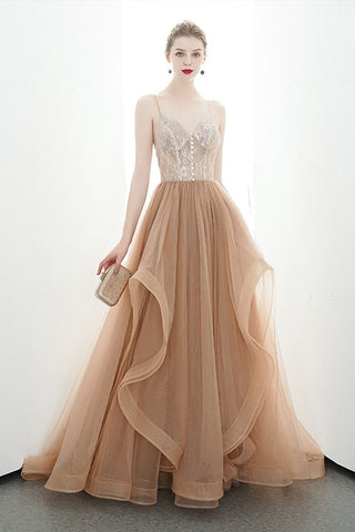 A-line Spaghetti Straps Tulle Long Lace Appliques Prom Dresses Formal Evening Dress OKR85