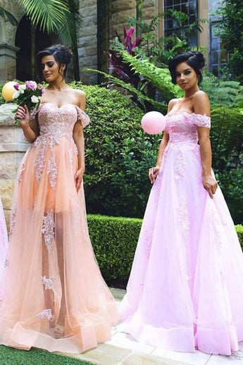 Off-the Shoulder Bridesmaid Dress,Tulle Bridesmaid Dresses,Appliques Bridesmaid Dress,Long Bridesmaid Dresses