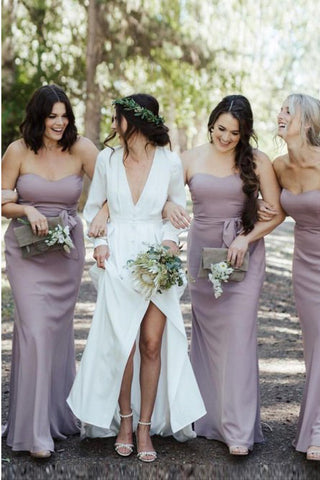 Mermaid Sweetheart Floor-Length Lilac Chiffon Bridesmaid Dress with Belt OKR95