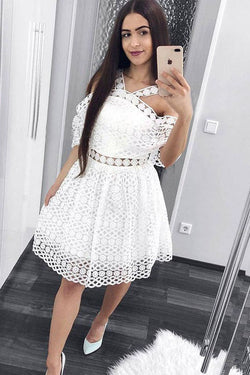 Cute A-Line White Lace Homecoming Dress,Short Prom Dresses OKM6