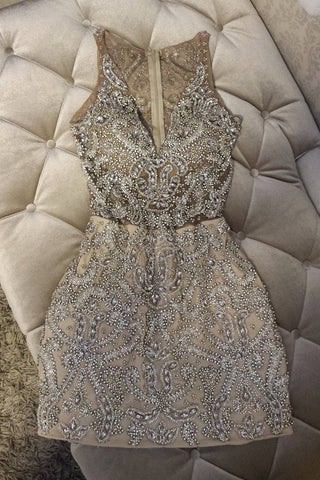 Sexy Sheath Beading V Neck Sleeveless Homecoming Dress OKC89