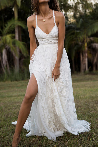 Charming Lace Long A-line Spaghetti Straps Split Ivory Beach Wedding Dress OK739