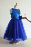 Royal Blue Flower Girl Dress,Sequin Flower Girl Dresses,Tulle Flower Girl Dresses
