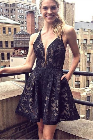 A-Line Deep V-Neck Straps Short Black Lace Homecoming Dress with Pockets OKA93