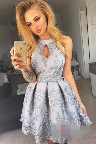 ad6d242f2b5 Sexy High Neck A Line Lace Mini Short Homecoming Dresses