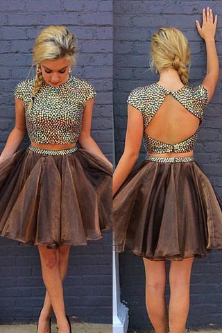 Sexy Homecoming Dresses,Rhinestone Homecoming Dress,Beaded Prom Dresses,Organza Prom Dress,Short Prom Dress,Cap Sleeves Homecoming Dresses,Beading Homecoming Dress,Backless Prom Dress