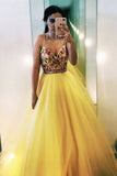 V Neck Spaghetti Straps Yellow Tulle A Line Prom Dresses with Floral Appliques OKT61
