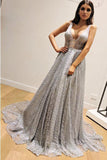 A-Line Sleeveless Silver Long Prom Dresses, V Neck Sleeveless Prom Gown OKP78