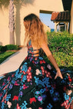 Charming A-line Spaghetti Straps Embroidery Long Prom Dress Evening Dress OKT29