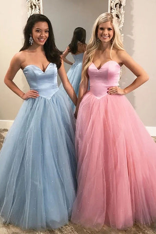 Charming A-line Sweetheart Zipper Long Prom Dresses Tulle Evening Dress OKT19
