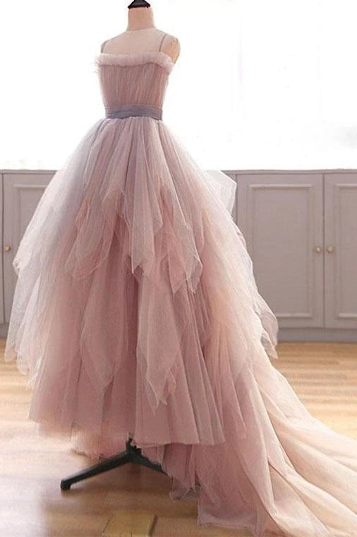 Vintage A Line Spaghetti Straps Blush Prom Dresses, Puffy Ruffles Party Dresses OKU26