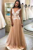 Gorgeous A-Line V Neck Tulle Long Prom Dresses with White Appliques OKU20