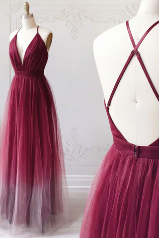 A-line Spaghetti Straps Ombre Long Tulle Prom Dresses Party Dresses OKR69