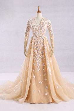 Pretty A-Line V-Neck Long Sleeves Tulle Appliques Floor Length Prom Dresses OKG32