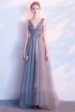 Elegant A Line Sequin Tulle Long V Neck Sleeveless Cheap Prom Dresses OKC2