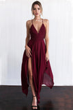Chiffon Prom Dress,Spaghetti Straps Prom Dress,V Neck Prom Dresses,Burgundy Prom Dresses,Assymetrical Prom Gowns