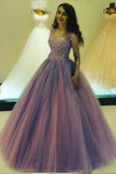 Princess Long V Neck Appliques Ball Gown Prom Dress With Long Sleeves OKB43