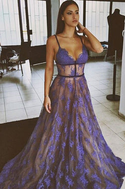 Purple Prom Dresses,Lace Prom Dress,Spaghetti Straps Evening Dress,Nude Lining Evening Dress,Long Evening Dresses
