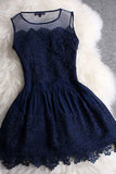 A-line Mini Navy Blue Sleeveless Crew Short Homecoming Dresses With Lace OKD10