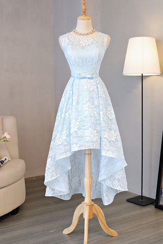 Light Blue Homecoming Dresses,Lace Homecoming Dress,Round Neck Prom Dresses,High Low Homecoming Dresses,Halter Prom Dress, Bow Homecoming Dress