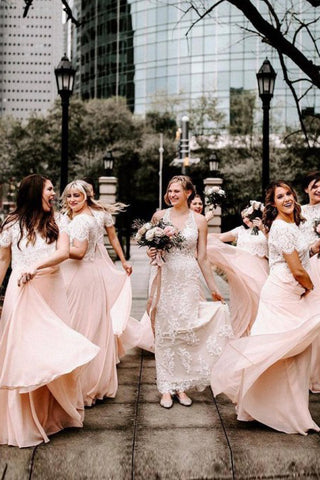 A Line Two Piece Short Sleeves Floor-Length Pink Bridesmaid Dress with Lace OKR89