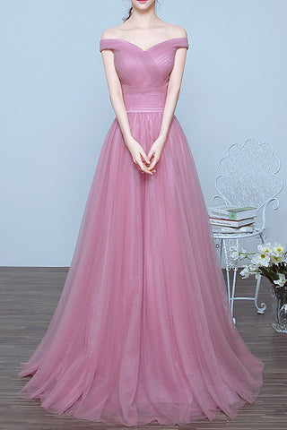 Charming Off the Shoulder A-line Long Prom/Evening Dresses 2017 for Graduation OK122