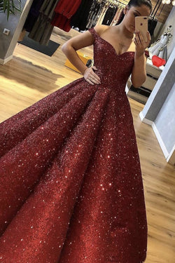 Burgundy Off the Shoulder Sequined Ball Gown Prom Dress OKI82