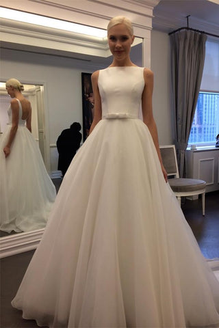 Charming Wedding Dresses,Backless Wedding Dresses,Sleeveless Wedding Dress,A-line Bridal Dress,Tulle Wedding Dresses,Ivory Wedding Dress