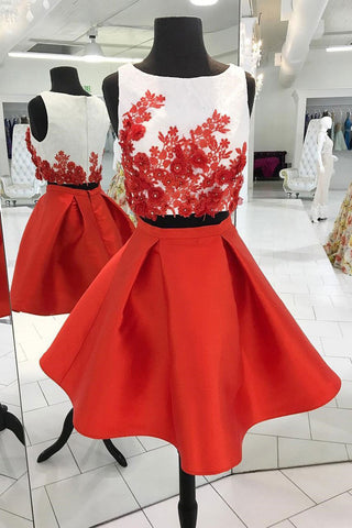 Red Short Two Piece A Line Homecoming Dresses,Graduation Dresses OKB65