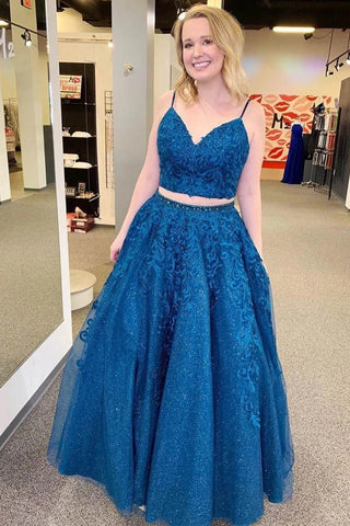 Royal Blue Sparkle Tulle Straps Appliques Two Piece Prom/Formal Dress OKU13