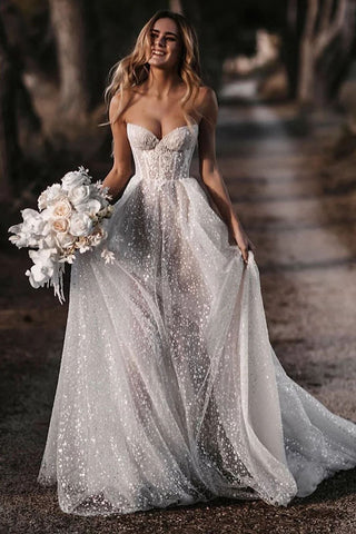 Shiny Glitter Vintage Wedding Dresses A Line Sweetheart Elegant Bride Dress OKW94