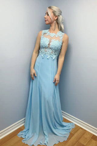 Elegant Prom Dresses,A-line Prom Gown,Chiffon Prom Dress,Appliques Prom Dress