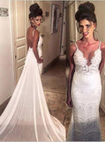 Elegant Spaghetti Straps Mermaid Long Lace Backless Wedding Dresses with Court Train OKB02