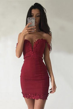 Sheath Off the Shoulder Short Dark Red Homecoming Dress with Lace Appliques OKE1