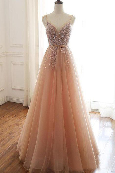 A Line Lace Up Back Spaghetti Straps Evening Dresses Coral Tulle Sequins Prom Dresses OKS15