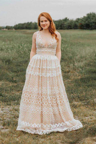 Ivory V Neck Long Lace Plus Size Prom Dresses with Pocket Vintage Formal Dress OKH66