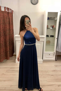 A Line Navy Blue Chiffon Long Prom Dresses,Cheap Party Dresses OKI81