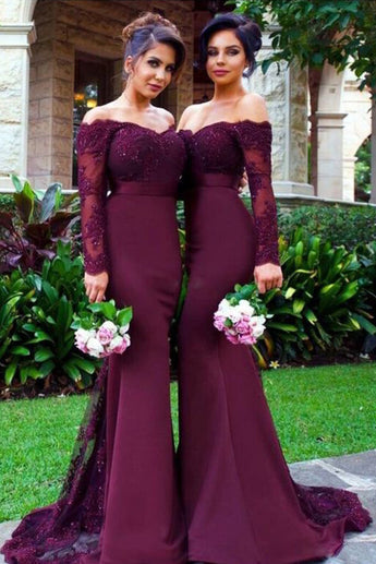Mermaid Long Sleeves lace off the Shoulder Sexy Bridesmaid Dresses For Weddings OK113